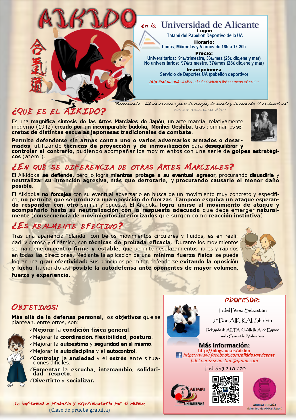 cartel actividad Aikido Aikikai- Universidad de Alicante - sede