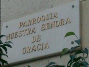 Placa de la Parroquia de Nuestra Señora de Gracia fotografiada el 10/12/2013