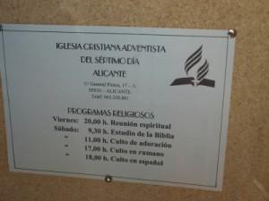 Foto de cartel realizada en la iglesia cristiana adventista del séptimo día, el 29/12/2013