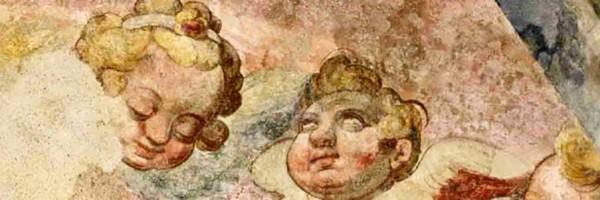 Detalle de los frescos que decoran la iglesia de San Telmo, San Sebastián