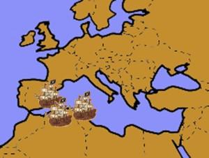 Lugares costeros del Mediterráneo donde Aruj llevaba a cabo sus batallas