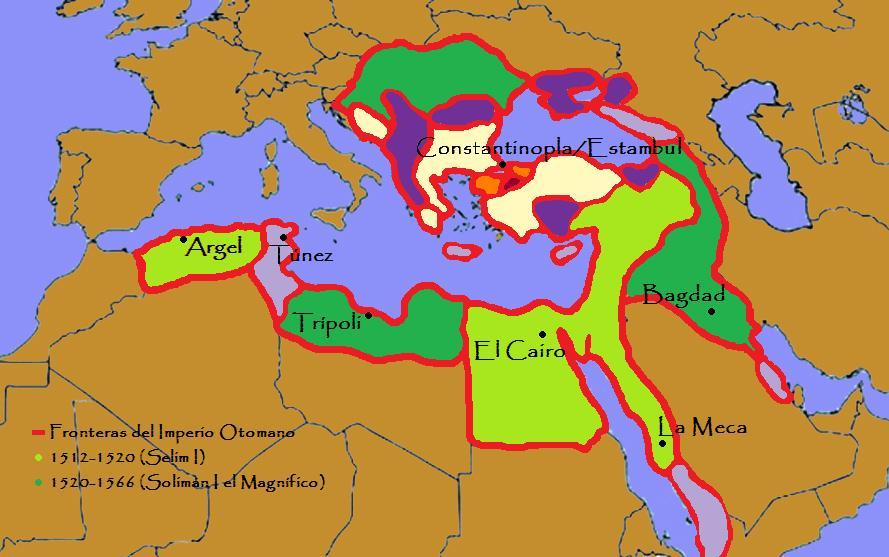 Mapa del Imperio Otomano en época de Selim I y Solimán I