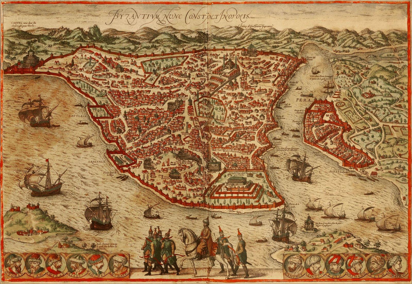 Mapa de Constantinopla/Estambul y sus sultanes (biografiasiniestras)