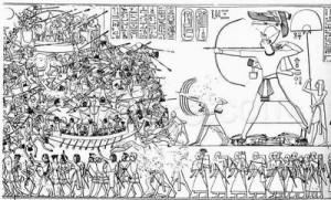 Batalla del Delta entre Ramsés III y los Pueblos del Mar en el siglo XII a. C. (wikipedia)