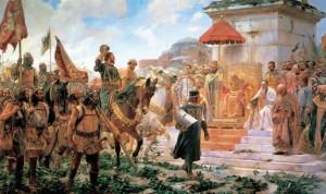 Roger de Flor al mando de los almogávares saludando al emperador de Bizancio (kalipedia)