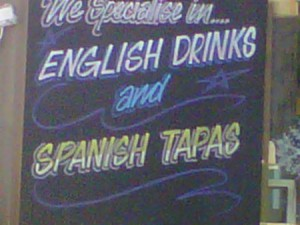 english drinks and spanish tapas