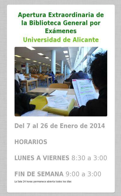 Apertura extraordinaria. Biblioteca. Enero 2014