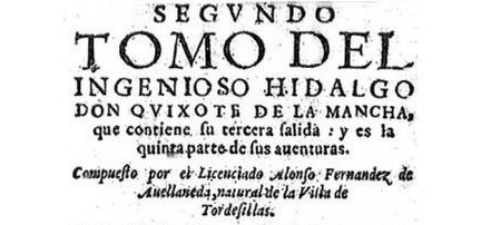 Detalle de la portada original del Quijote de Avellaneda