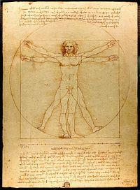 Hombre de Vitruvio, dibujado alrededor de 1490.