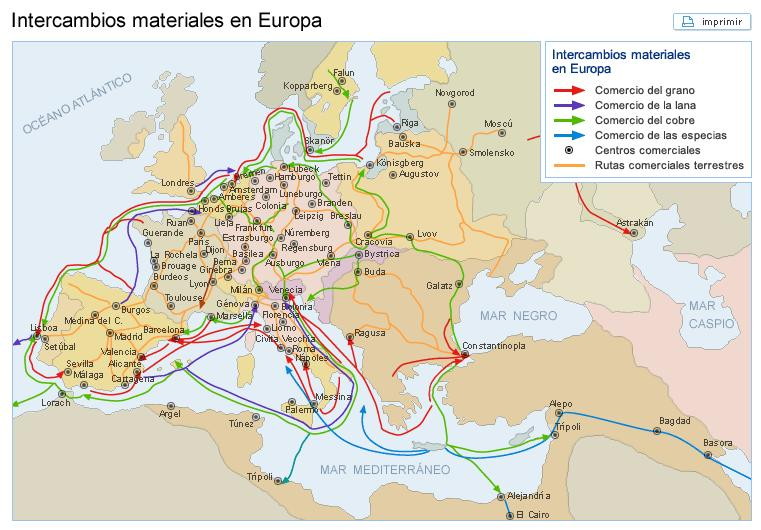 productos  El comercio en los siglos XV y XVI