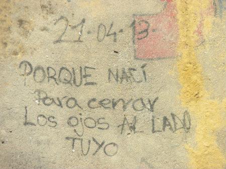 Es un graffiti es de tema amoroso, con un mensaje claro. No presenta demasiada elaboración y la fecha en la parte superior indica quee va destinado a otra persona. La […]