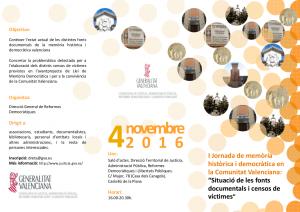 I Jornada de memòria històrica i democràtica en la Comunitat Valenciana