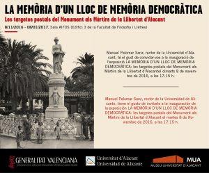 """Exposición """"La Memòria d'un Lloc de Memòria: les targetes postals del Monument als Màrtirs de la Llibertat d'Alacant"""""""