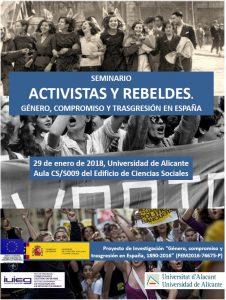 """Seminario """"Activistas y rebeldes. Género, compromiso y trasgresión en España"""""""