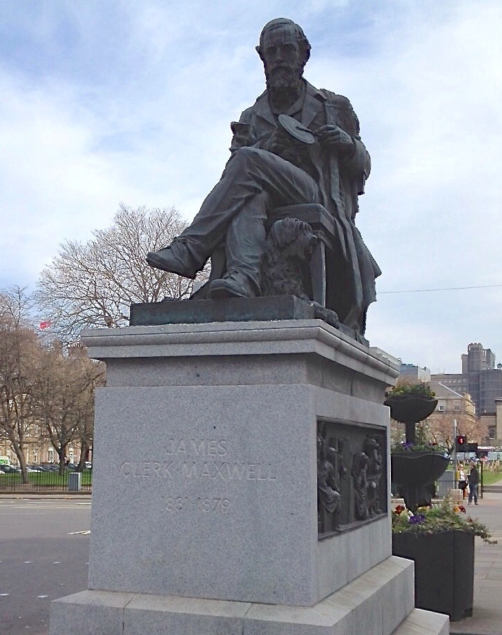 Statute James Clerk Maxwell with his dog Toby at his feet and holding his colour wheel, Edinburgh (Scotland). Credit: A. Beléndez.
