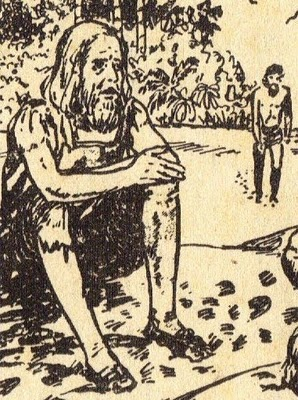 Españoles esperando en Puerto de Hambre. Dibujo: Jorge Salazar.
