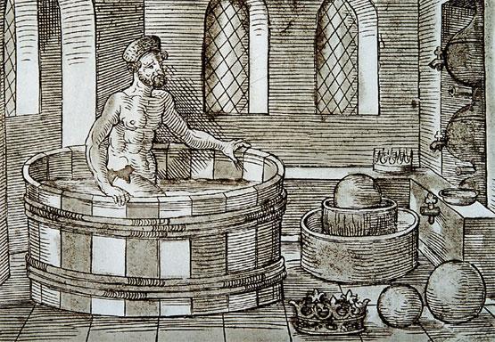 Tinas De Baño Corona:Imágen de Arquímedes, saliendo de la bañera en el momento del