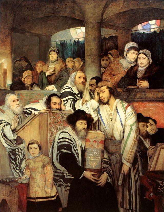 Judíos rezando en la sinagoga durante el Yom Kipur, por Maurycy Gottlieb, representación de los askenazíes de Viena en el siglo XIX. (Wikipedia)