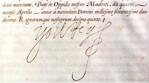 Fragmento manuscrito Felipe III Título Ciudad Denia