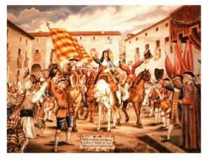 Proclamación Carlos de austria en la plaza mayor de Denia