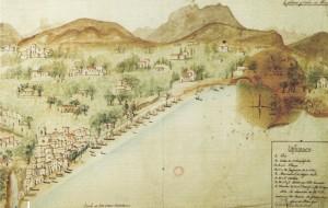Grabado de J. García Campero con la vista de Vilajoiosa y su puerto en 1835
