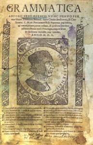 """Portada del libro de """"Gramática"""" de Antonio Nebrija.  Imagen extraída de: http://es.wikipedia.org/wiki/Gram%C3%A1tica_castellana"""