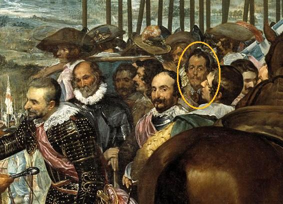 """Detalla de """"La Rendición de Breda"""" señalando a Carlos Coloma."""