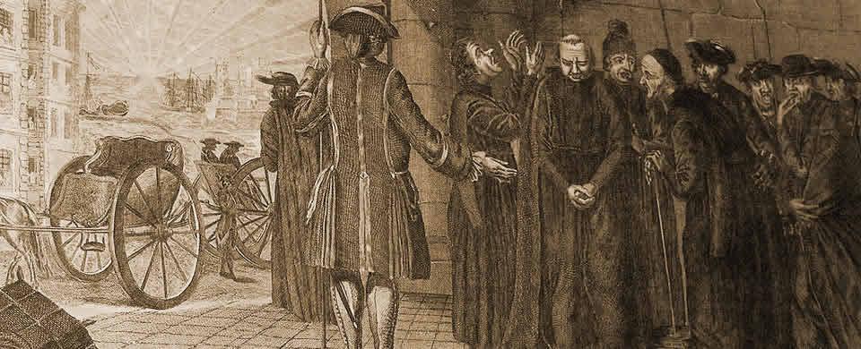 Grabado de la expulsión de los jesuitas en 1767.