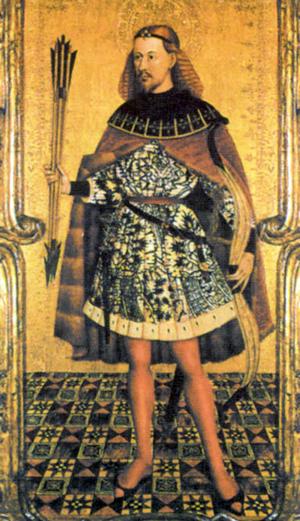 Ausiás March como San Sebastián, tabla de Jacomart, Museo Diocesano, Colegiata de Xàtiva.