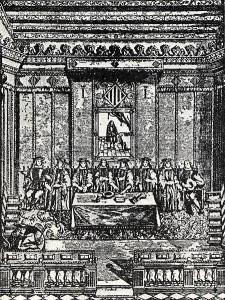 Grabado de 1672 representando a los Jurats de Valencia.