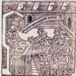 Grabado con estudiantes. Siglo XV