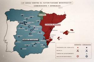 Mapa de las Germanías y las Comunidades