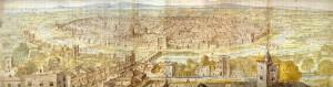 Vista panorámica de Valencia en 1563 realizada por Anthonie van den Wjingarde.