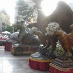 Representaciones actuales de dragones y aguilas en el Corpus de Valencia