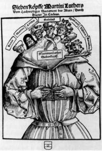 Las siete cabezas de Martín Lutero de Hans Brosamer