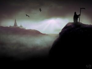 Ilustración de la muerte acechando a la Ciudad