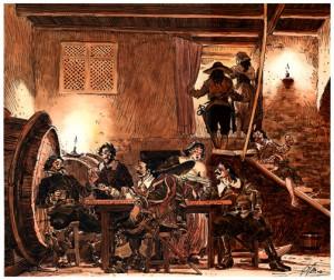Ilustración de la sociabilidad en una taberna-mancebía
