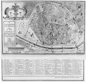 Plano parroquial de Valencia por Vicente Tosca