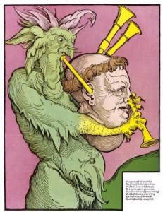 Caricatura de Martín Lutero como la gaita de Satanás (siglo XVI)