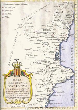 Mapa del Reino de Valencia