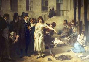 Philippe Pinel, en La Salpêtrière (Asilo de París para mujeres locas), liberando de sus cadenas a una paciente. Cuadro de Robert Fleury (1795)