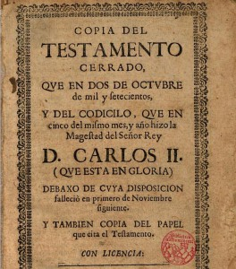 Còpia del testament de Carles II (enllaç al text)