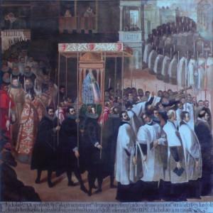 Processó de gràcies a nostra senyora de San Lorenzo, per la salut de la reina Margarita d'Austria