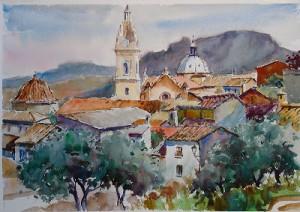 Pintura de la Iglesia de la Seo de Xativa, vista desde la subida al castillo.