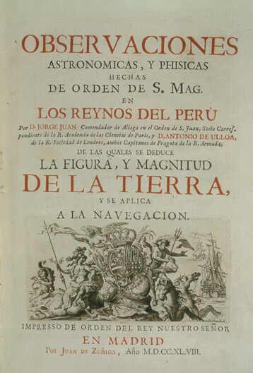 """Resultado de imagen de Portada de """"Observaciones astronómicas y físicas hechas en los Reinos del Perú"""""""
