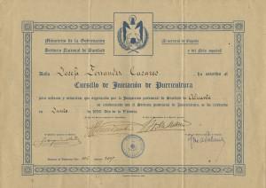 """Diploma """"Cursillo Iniciación de Puericultura"""""""