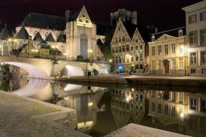 vista de Gante y sus canales