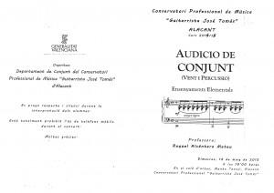 Programa a Audicion Conjunto Mayo 2015