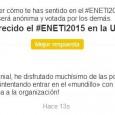 Estimados asistentes, ponentes y organizadores del #ENETI2015: Ante todo gracias por haber participado en el debate propuesto para obtener vuestra valoración sobre lo que fue el Encuentro Nacional de Estudiantes […]