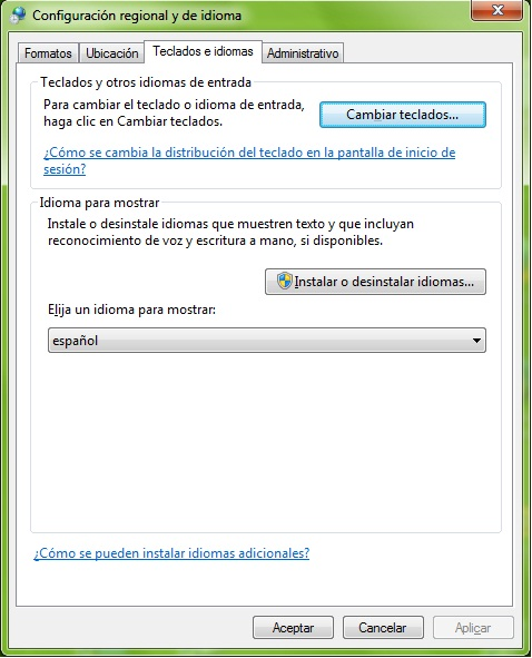 Cambio de idioma en windows7